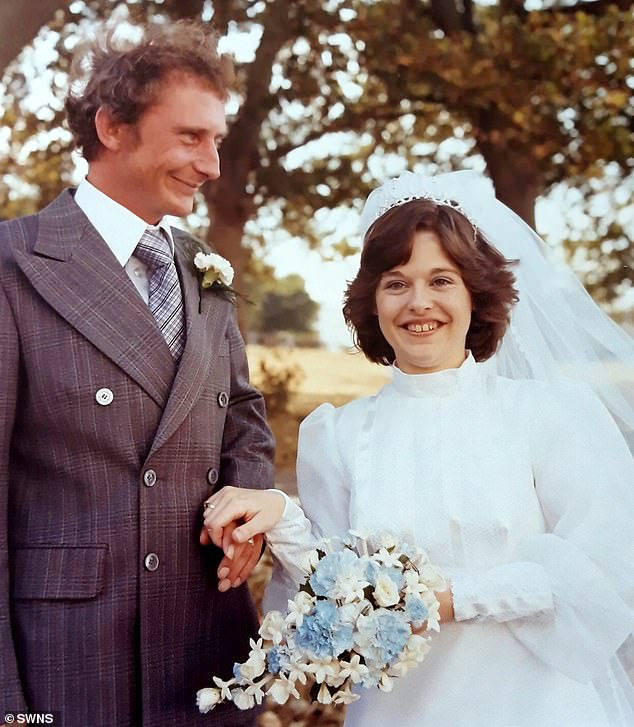Joe Walter and Paula on their wedding dayat St Peter's Church in Crownhill, Plymouth on 28 August 1980