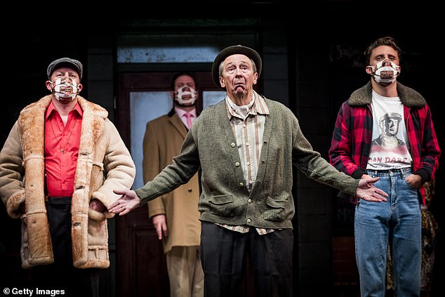Making a statement: Paul Whitehouse (centre) joined the cast of Only Fools and Horses The Musical at Theatre Royal Haymarket in London on Thursday