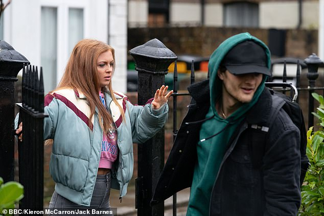 Soap fame: She hit headlines over the summer, when she was spotted smoking a 'strong-smelling' cigarette at the wheel of her car (pictured as her character Tiffany Butcher in soap still)