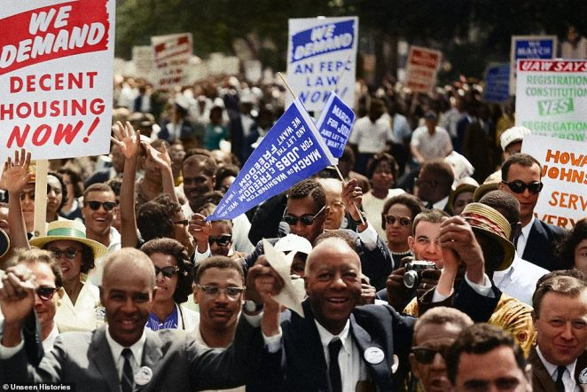Leaders of the March on Washington on August 28, 1963, smiled, waved and cheered as the enormous crowds took to the streets demanding equal rights from all