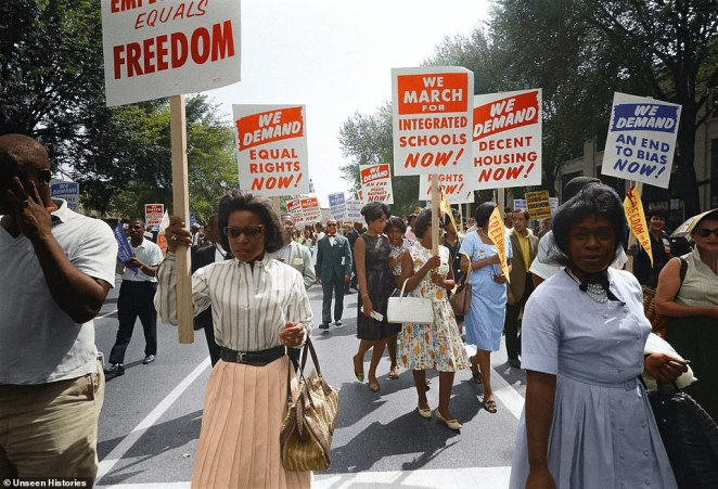 Men and woman of all generations took to the streets of Washington DC clutching placards demanding equal rights for - including integrated schools and decent housing