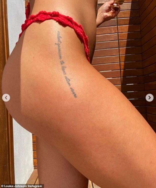 Flashing the flesh:In one image, the star gave a close-up of her tattoo, written in Latin, which runs from her hip down her thigh