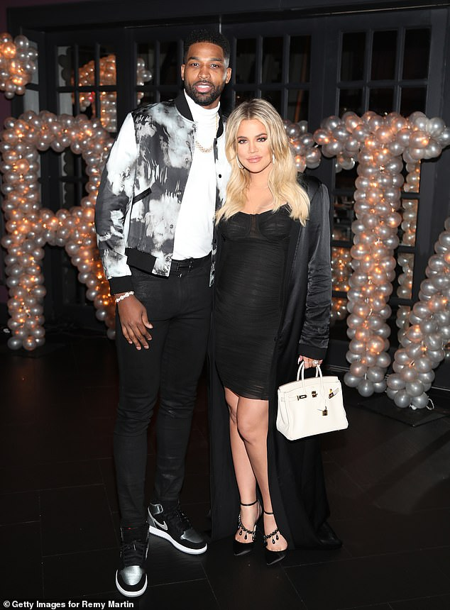 Flashback:Khloe and Tristan first began dating in September 2016 following her divorce from Lamar Odom; she moved to Cleveland to live with NBA player in December 2017 after announcing her pregnancy; pictured March 10, 2019 in LA