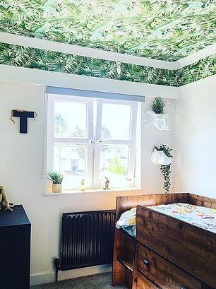 A jungle paper ceiling has transformed young Toby's room, with animal shaped pot planters mounted on the wall