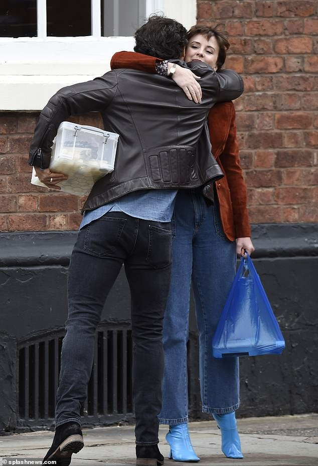 Pals: Alexandra shared a sweet embrace withDominic Allburn as they prepared to begin filming the scenes