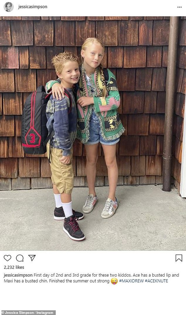 Her eldest children: And here is a look at Maxi and Ace as they start back at school
