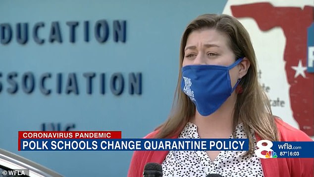 Polk Education Association President Stephanie Yocum said she's trying to make quarantine figures public.She said: 'The public has a right to know and we have a right to know so that we can help best keep our members safe'