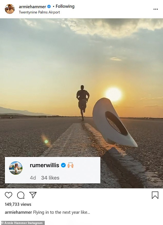 She's a fan! The duo follow each other on Instagram, and last week Rumer commented on a video Armie posted of himself 'flying into the next year'