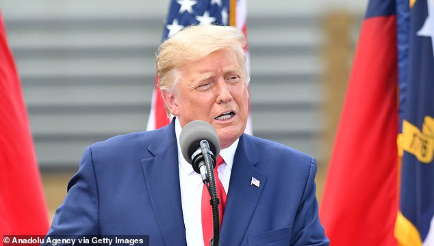 President Donald Trump lashed out at Fox News for producing a trio of polls that showed him down in key states including Arizona, Wisconsin and North Carolina. Trump made a trip to North Carolina Wednesday (pictured) to honor the city of Wilmington's World War II heritage