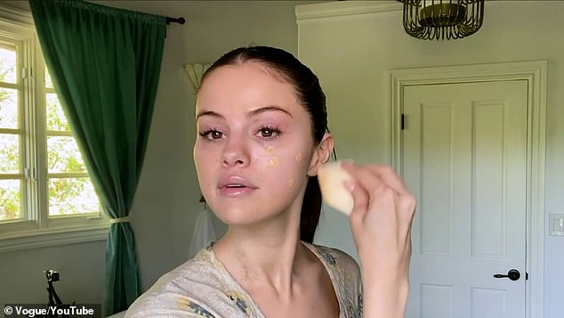 An expert: The Monte Carlo actress used a sponge to dab on the makeup carefully