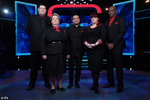 Shaun, who is known on the show as 'The Dark Destroyer' (far right) is pictured with the other chasers, Mark 'The Beast' Labbett, Anne 'The Governess' Hegerty, Paul 'The Sinnerman' Sinha, Jenny 'The Vixen' Ryan