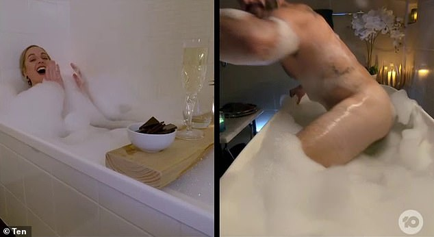 Solved! Upon closer inspection, it's clear that Locky did not expose himself. The body part on show was not his genitalia, but was instead his hand reaching out to grab the edge of the bath
