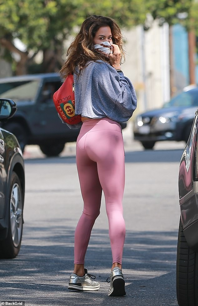 Fitness goals: Brooke Burke showed off her sculpted summer body as worked up a sweat at the celeb-beloved Dogpound gym in West Hollywood on Wednesday