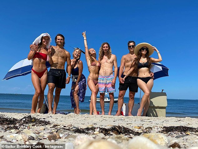 Going through it together: Nina and Jack have been spending the pandemic lockdown with his mom Christie Brinkley, and his sisters Sailor Brinkley-Cook and Alexa Ray Joel, as well as their partners Ben Sonse and Ryan Gleason