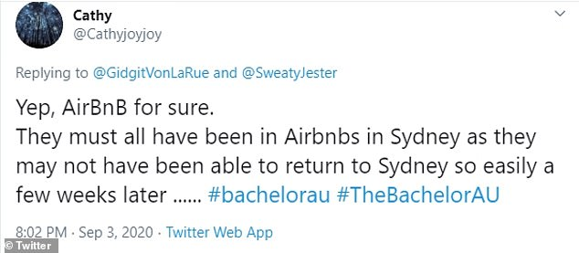 'They must all have been in Airbnbs in Sydney as they may not have been able to return to Sydney so easily a few weeks later,' tweeted one viewer