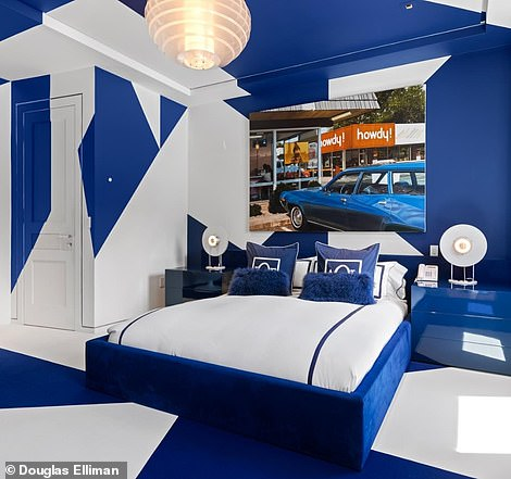 Guest bedrooms embrace the red, white and blue that's a signature of Hilfiger's brand