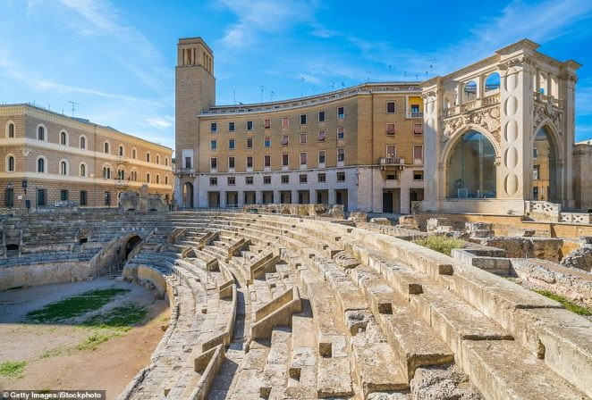 The Roman Amphitheatre in Lecce, which was erected during the reign ofthe Emperor Hadrian in the 2nd century AD