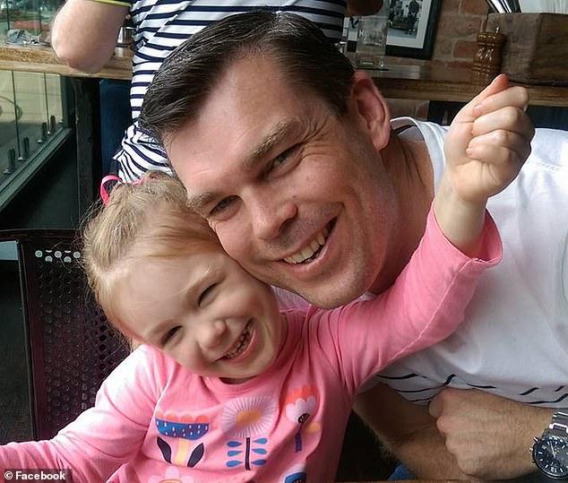 Mr Wilson with his daughter Ava, who often ask why her father is dead - but her mum has no answer to give her