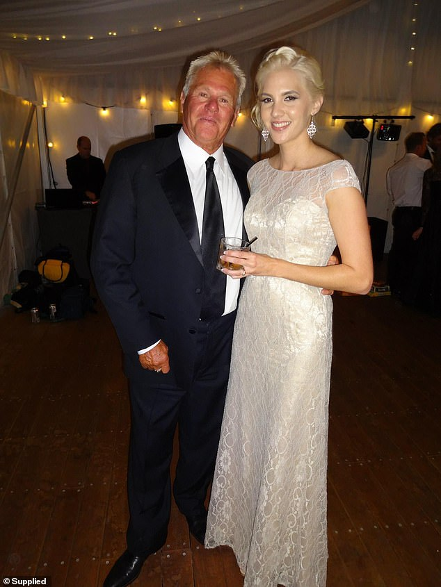 Graeme Gibb, 76, (pictured with daughter Alisha) was allegedly punched by a lycra-wearing cyclist while en route to his weekly Sunday walk at Burleigh Waters on the Gold Coast