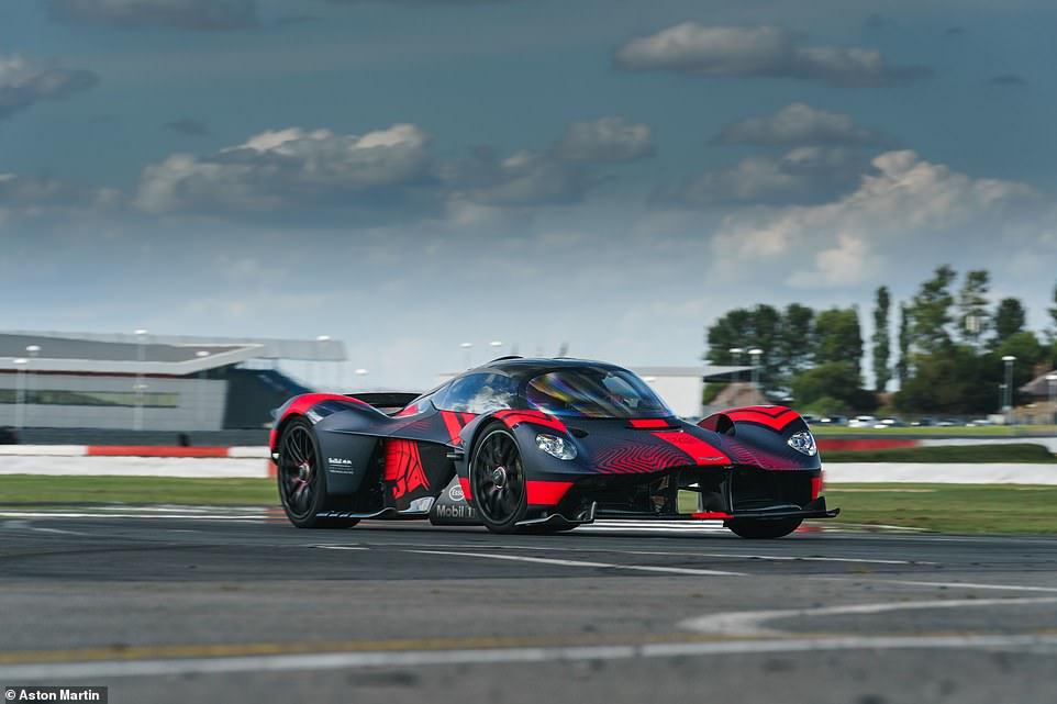 Some of the other design features are ripped from the Aston Martin Valkyerie (pictured), which is a yet-to-be-released £3million hypercar seen here testing at Silverstone