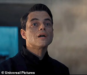 Look elsewhere now! Bond confronts villainous Safin, played by Rami Malek, 39, who viewers are told is concocting a plan that could kill 'millions'