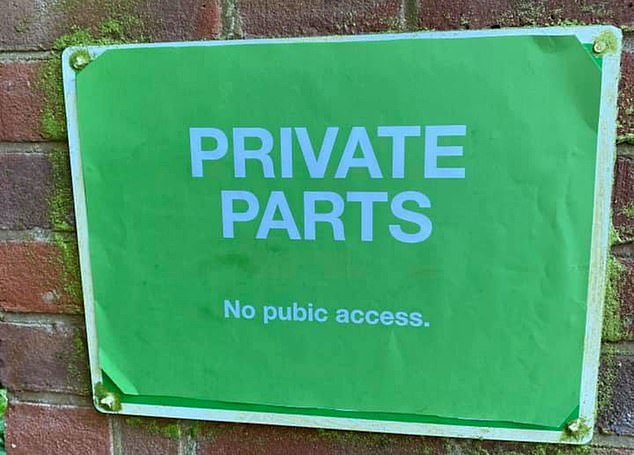 After locals were left stunned when a large 'no access' sign appeared on a lane, the 'Phantom Poster Printer' has pasted over the notice with their own signs including one reading 'private parts, no pubic access'