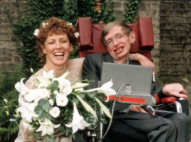 In 1985 Hawking had a tracheotomy, which meant he would need 24/7 care - and fell for his new nurse. Her name was Elaine Mason who Mlodinow writes had red hair, liked to skateboard and 'definitely knew how to flirt'. He writes: 'Maybe one reason they bonded was that she had the flamboyance he would have exhibited if he'd had the use of his body.' Pictured: Hawking and Elaine in 1995