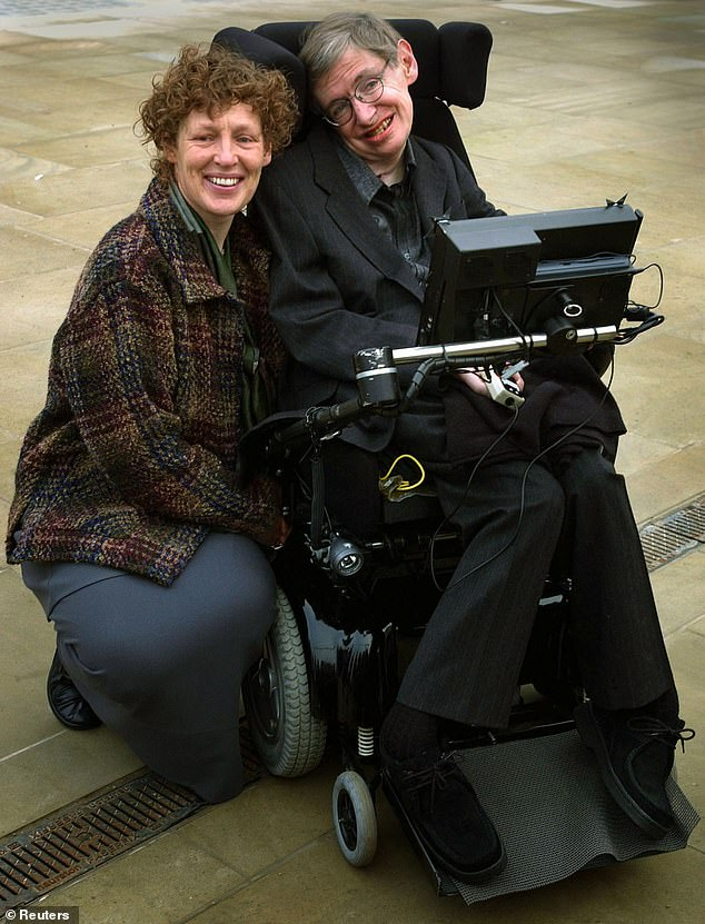 Stephen Hawking's second wife Elaine once flew into a rage in front of dinner guests and said she had been his 'slave for 20 years', a new book obtained by DailyMail.com claims. Pictured: Hawking with Elaine ahead of his 60th Birthday Symposium on January 11, 2002