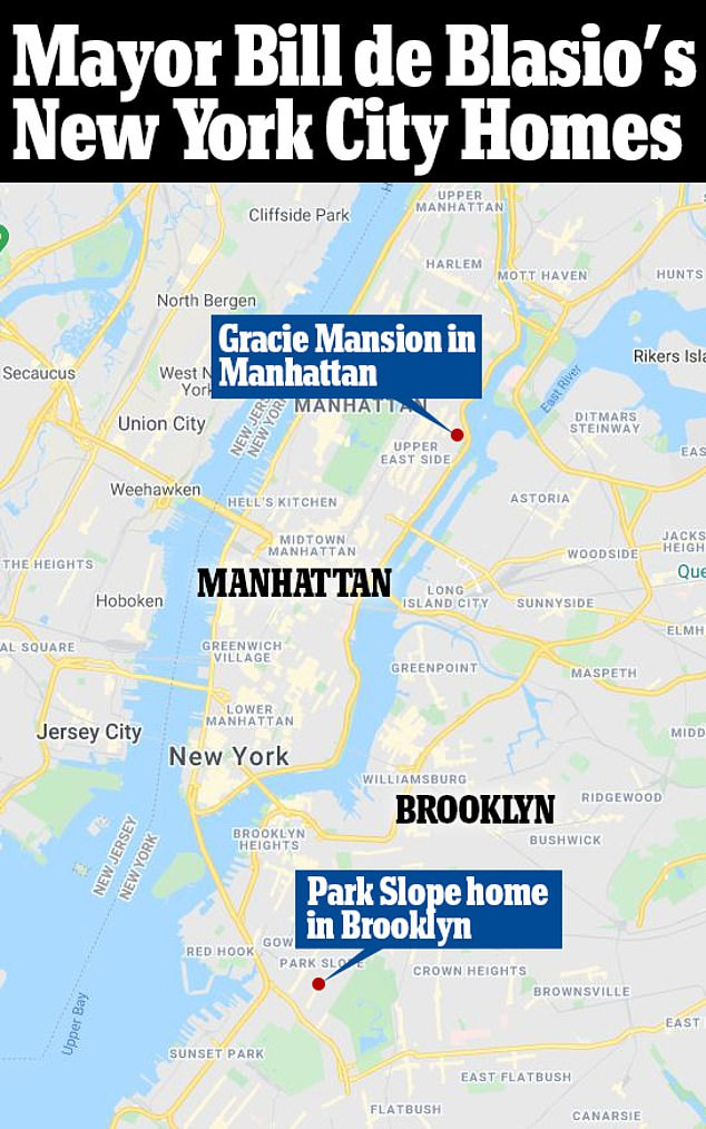 Pictured: a map showing Mayor Bill de Blasio's Gracie Mansion in Manhattan and his Brooklyn property