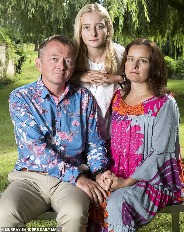 His father Harry (left), 55, a visual effects artist, and mother Barbara Genda (right), 46, a furniture designer, hoped the funeral would bring a peace of sorts. Pictured centre: sister Amelie, 13