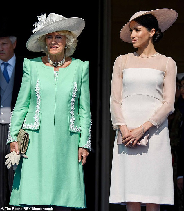 Camilla (left) has done more than anyone to highlight the plight of abused women. Pictured right: Meghan Markle