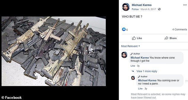 Karmo's Facebook page includes several pictures of himself with guns and pictures of guns