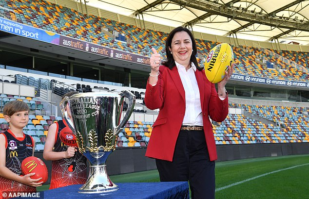 Queensland Premier Annastacia Palaszczuk refuses to reopen the state's borders despite recording one COVID-19 case overnight (pictured at the Gabba in Brisbane)
