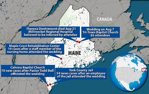 The map above shows case clusters linked to the Millinocket wedding
