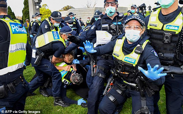 Police clashed with anti-lockdown protesters in Melbourne, (pictured) arresting 17 people and fining more than 160 over a rally that started at the Shrine of Remembrance on September 5