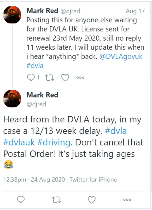 Another said they'd had to wait up to 13 weeks to hear back from the DVLA over a licence renewal, claiming 'it's just taking ages'