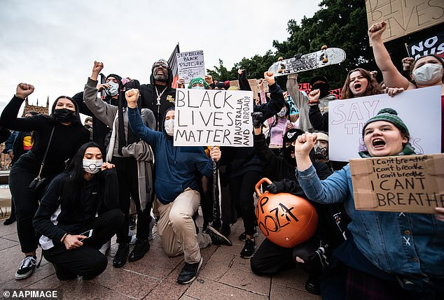 Protesters gather during a Black Lives Matter protest, following the death in Minneapolis police custody of George Floyd