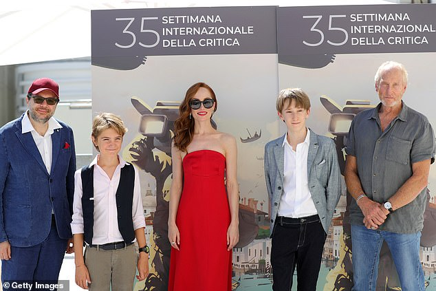 Movie: The couple met in 2018 when he acted in art movie The Book Of Vision, which opened at the Venice film festival on Thursday (Charles pictured with the cast)