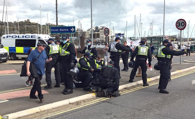 A heavy police presence is in place in the town, with large concentrations of officers in Market Square and the railway station