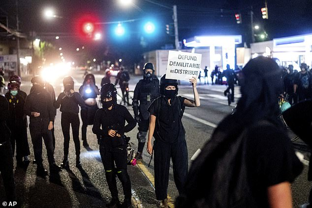 Anti-police protesters rally outside the Portland Police Association building