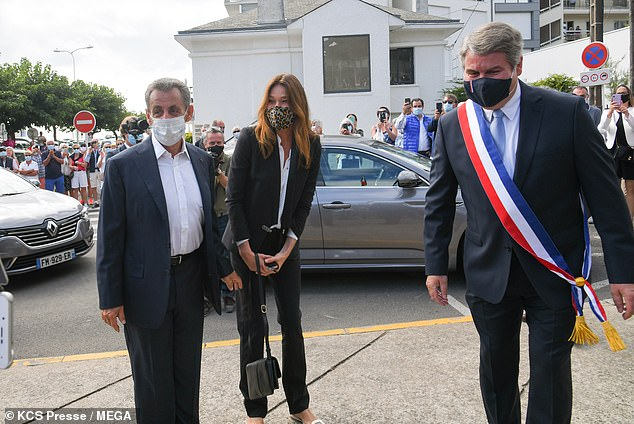 The groom, Franck Louvrier (right), was also Sarkozy's communication advisor during his time as the President of France. Weddings have been allowed in France after lockdown since June 2