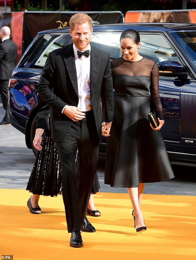 Pictured:The Duke and Duchess of Sussex attending Disney's The Lion King European Premiere held in Leicester Square, London