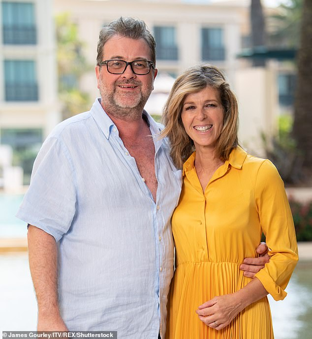 Kate Garraway's husbandDerek Draper (pictured together)fell ill at the start of lockdown.He is now out of an induced coma but remains in intensive care
