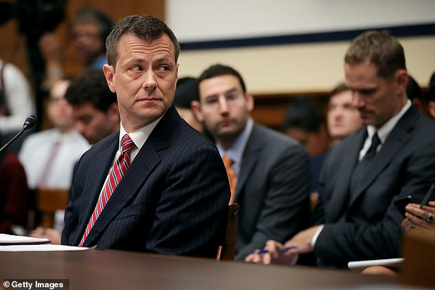 Peter Strzok (left): 'Trump's apparent lies — public, sustained, refutable, and damaging if exposed — are an intelligence officer's dream.For that very reason, they are also a counterintelligence officer's nightmare'