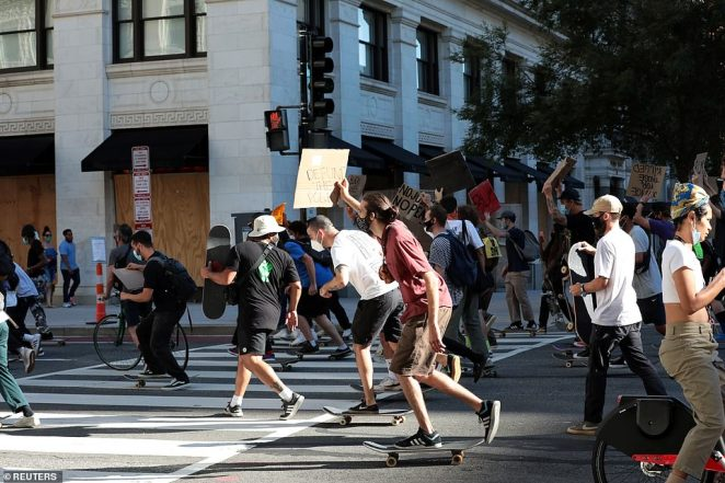 Protesters on skateboards on Saturday took to the streets of Washington DC demanding the defunding of the police