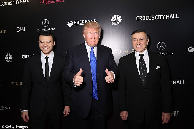 Cohen wrote Trump (center in 2013) visited a Las Vegas strip club with Russian oligarch Emin Agalarov (left) and Aras Agalarov (right), where they saw a simulated golden shower scene