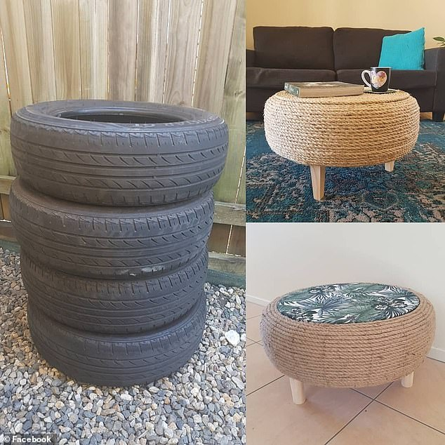 Brisbane mother Jasmine Campbell's handmade coffee tables (pictured), fashioned out of old car tyres