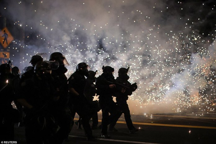 consecutive night of protests against police violence and racial inequality, in Portland, Oregon
