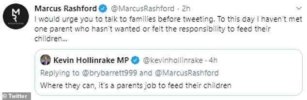 Footballer Rashford, 22, who is spearheading a task force to combat child poverty, rebuked the married father-of-four