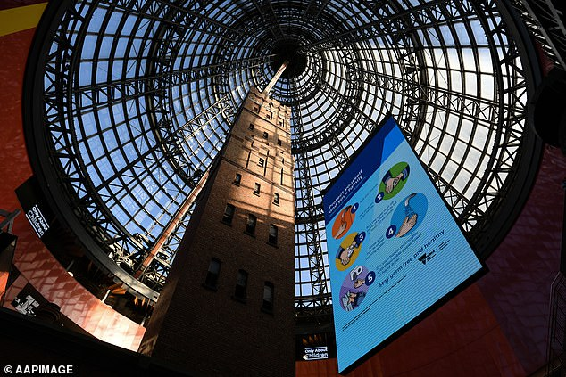 Coronavirus warning messages at Melbourne's Central Shopping Centre on Sunday. Premier Daniel Andrews announced a four-step path to freedom on Sunday